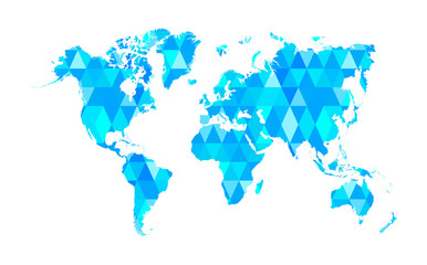 Blue Mosaic Tiles World Map Isolated Vector Illustration