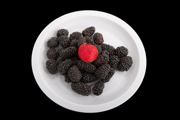 Blackberries and a Strawberry on White on Black