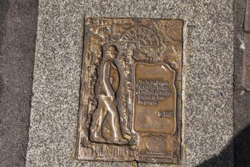 """Bodenmarkierung zum Roman """"Ulysses"""" von James Joyes in Dublin, Irland"""