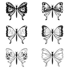 Set of butterfly vector shape