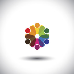 colorful employees & executives together in meetings - vector gr