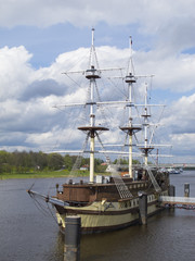 Wooden frigate on the Volkhov river in Veliky Novgorod