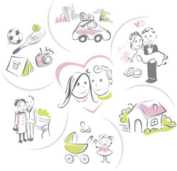 Family life of a couple, funny vector illustrations set