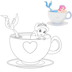 Mermaid in a Cup Coloring Book Page