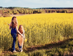 women and girl in rape field