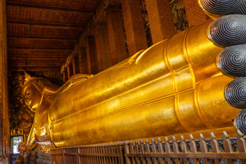 Reclining Buddha Image at Wat Pho in Thailand