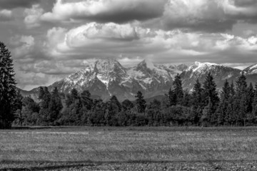 Greyscale image of Slovenian mountains