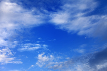 Evening blue sky with clouds and moon
