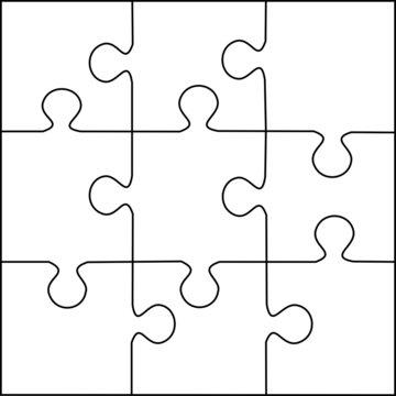 Puzzle template 9 pieces vector