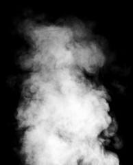 White steam on black background.