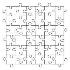 Puzzle template 36 pieces vector