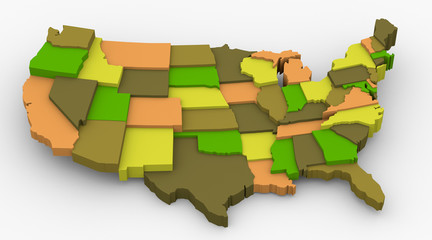USA earth color map image. Concept color for country