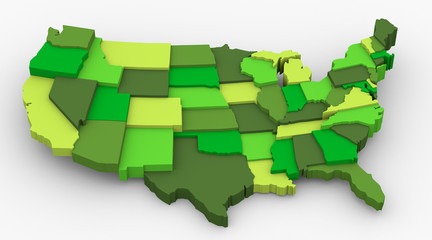 USA green map image. Concept of ecology