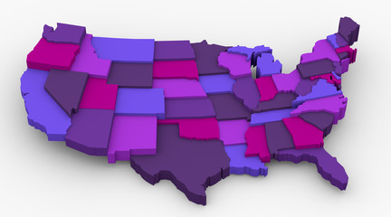 USA purple map image. Concept color for royalty