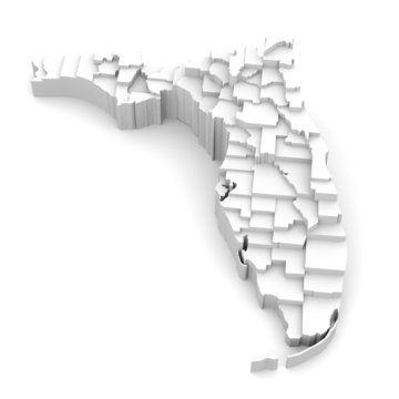 Florida map by counties in various high levels.