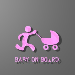 pink low poly baby on board sign