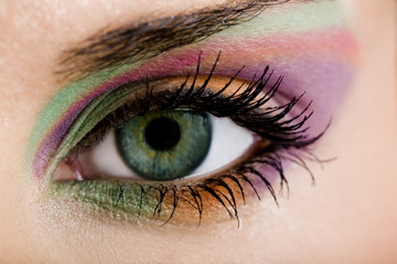 Modern fashion green violet makeup of a female eye - macro shot