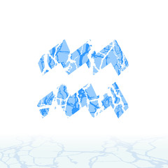Cracked ice alphabet. Symbols of the snow. Signs of the zodiac