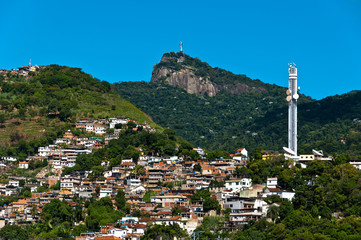 Rio de Janeiro Mountains with Slums and Corcovado
