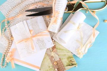 Beautiful handmade wedding cards on blue background