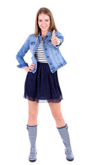 Beautiful young girl in skirt, jacket and t-shirt isolated