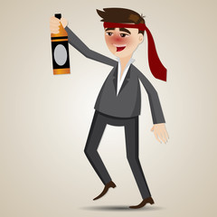 cartoon drunk businessman with alcohol bottle