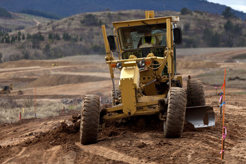 Earth moving equipment working on new housing project