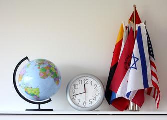 globe, flag