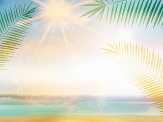 Palm and tropical beach design template.