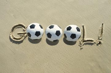 Football Soccer Goal Message Brazilian Sand