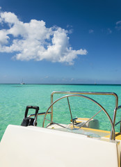 The view from white luxury catamaran in the azure water