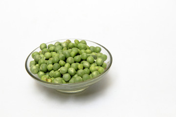 Green Peas in Glass Dish