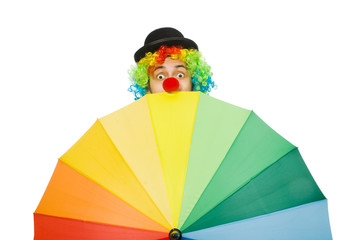 Wall Mural - Clown with umbrella isolated on white