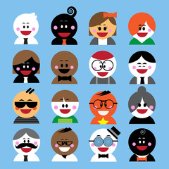 vector cartoon cute happiness, smile people user icons set
