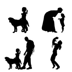 Vector silhouette of people with dog.