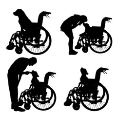 Vector silhouettes of dog in a wheelchair.