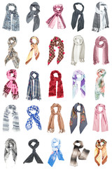 The set of silk scarves isolated on white background