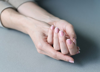 Beautiful hand with perfect nail french manicure