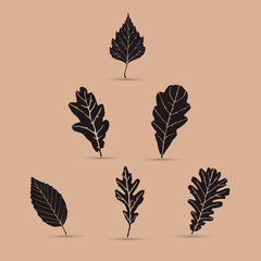 Set of leafs, silhouettes