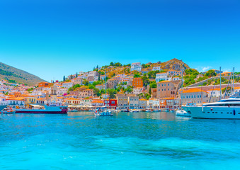 The beautiful old main port of Hydra island in Greece