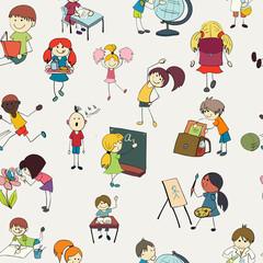 School kids doodle seamless pattern
