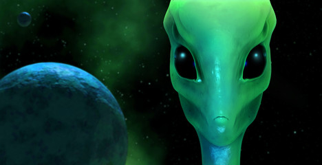 3d render of a green alien with planet  background