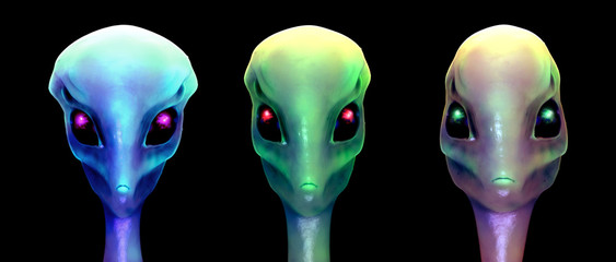 Sci-fi 3d illustration, three aliens isolated on black