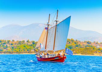 Classic wooden Greek boat (Perama) in Spetses island in Greece