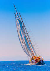 Big 3 mast old classic sailing boat in Spetses island in Greece