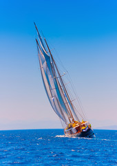 A  big 3 mast classic sailing boat in Spetses island in Greece
