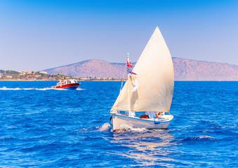 Classic wooden Greek boat (Kaiki) in Spetses island in Greece