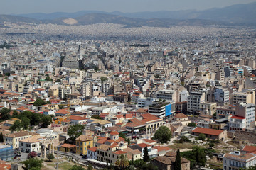 View from The Acropolis on Athens city and Plaka area