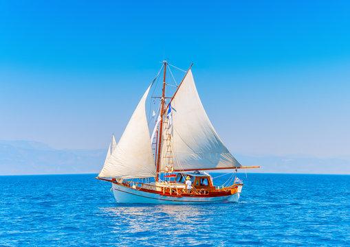 Old wooden Greek boat (Kaiki) in Spetses island in Greece