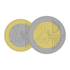 Coins of 1 and 2 euros